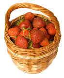Strawberry in wicker basket Stock Images