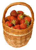 Strawberry in wicker basket. Fresh strawberry in wicker basket isolated on white royalty free stock image