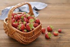Strawberry in wicker basket Stock Image