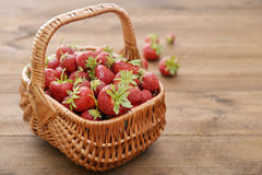 Strawberry in wicker basket Stock Photography