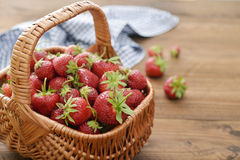 Strawberry in wicker basket Royalty Free Stock Photography
