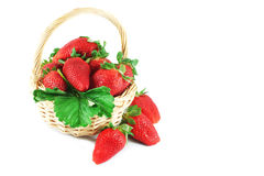 Strawberry in a wicker basket Royalty Free Stock Photo