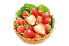 Strawberry in wicker basket on white background. Freshing strawberry in basket on white background Stock Photography