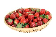 Strawberry in wicker bowl Royalty Free Stock Photography