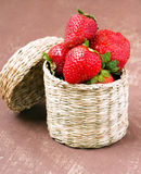 Strawberry in a wicker Royalty Free Stock Images