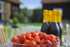 Strawberry and wine. A table prepared for a summer party with bubbly champagne and fresh strawberries royalty free stock photos