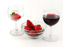 Strawberry and wineglass Stock Photography