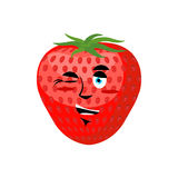 Strawberry winks. Cheerful fruit. Juicy red berry Royalty Free Stock Photos
