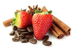 Strawberry With Coffee And Spice Stock Photo