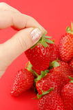 Strawberry and woman Royalty Free Stock Photos