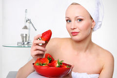 Strawberry woman Royalty Free Stock Photo