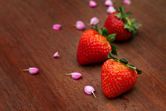 Strawberry on wood background Royalty Free Stock Photo