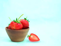 Strawberry in a Wood Cup Stock Photos