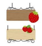 Strawberry wood sign Stock Image