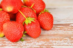Strawberry on wooden background, DOF Stock Photography