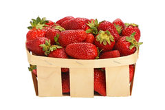 Strawberry in wooden basket isolated on white Stock Photos