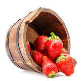 Strawberry wooden bucket Royalty Free Stock Photo