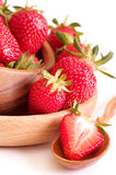 Strawberry in wooden plate Royalty Free Stock Photo