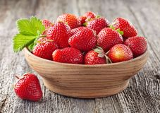 Strawberry with leaves Royalty Free Stock Photography