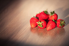 Strawberry. On wooden table Royalty Free Stock Photos