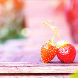 Strawberry on wooden table Stock Photography