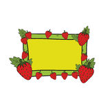 Strawberry with yellow and green frame hand drawn vector Stock Image