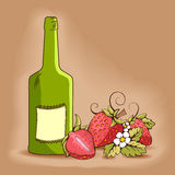 Strawberry with yellow kernels and green bottle Royalty Free Stock Image