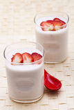 Strawberry yoghurt. Two cup of strawberry yoghurt stock photography