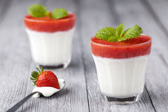 Strawberry and yoghurt dessert Stock Photos