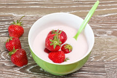 Strawberry yoghurt Stock Photos