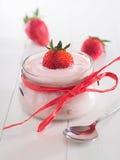 Strawberry yoghurt in a glass Stock Photo