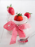 Strawberry yoghurt in a glass Stock Image