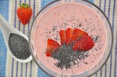 Strawberry yoghurt with poppy seeds Stock Photo