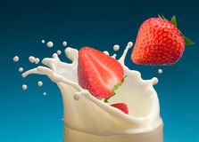 Strawberry in yogurt Stock Photos