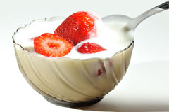 Strawberry with yogurt Royalty Free Stock Photo