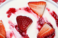 Strawberry yogurt from above Royalty Free Stock Photos