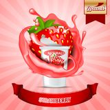 Strawberry yogurt ads. Splashing scene with package and fruits. Editable mockup. HiRes, Vector EPS10 file. 100% Layered and editable. Good for all sizes royalty free illustration