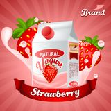 Strawberry yogurt ads. Splashing scene with package and fruits. Editable mockup. HiRes, Vector EPS10 file. 100% Layered and editable. Good for all sizes vector illustration