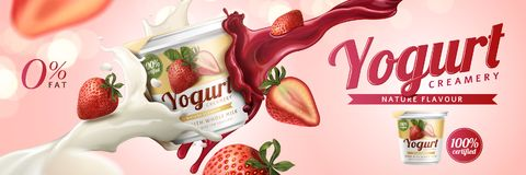 Strawberry yogurt ads. With milk and fruit jam splashing in the air on pink background, 3d illustration stock illustration