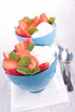 Strawberry and yogurt Stock Photos