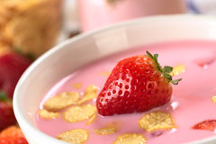 Strawberry Yogurt with Corn Flakes Royalty Free Stock Image