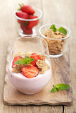Strawberry yogurt with cornflakes and mint Royalty Free Stock Photos