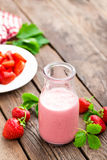 Strawberry yogurt with fresh berries, delicious drink, cocktail Stock Images