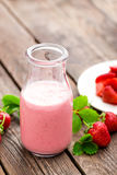 Strawberry yogurt with fresh berries, delicious drink, cocktail Royalty Free Stock Photos
