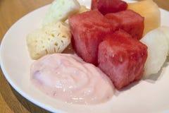 Strawberry Yogurt with Fresh Fruits Royalty Free Stock Image