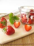 Strawberry yogurt with fresh fruits Royalty Free Stock Photo