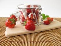 Strawberry yogurt with fresh fruits Royalty Free Stock Images