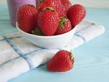 strawberry yogurt fruit juice sweet breakfast detox on a blue wooden background royalty free stock photography