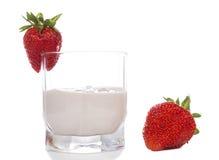 Strawberry yogurt in a glass Stock Photos