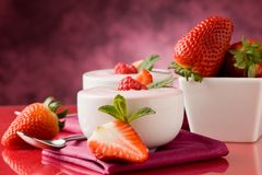 Strawberry yogurt with mint leaf Royalty Free Stock Photo